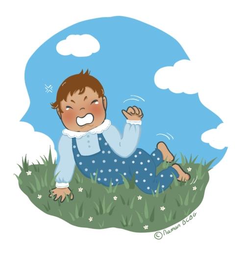 Bebe pleure dans herbe