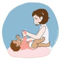 Maman BCBG enfiler manches bébé pleure