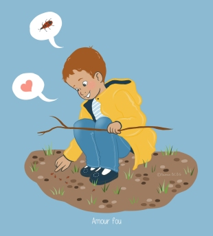 Maman BCBG Enfant joue avec gendarmes insecte pyrrhocore Pyrrhocoris apterus