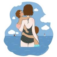 Maman enfants regardent la mer