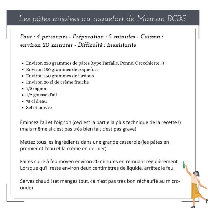 Maman BCBG blog - Recette pâtes au roquefort